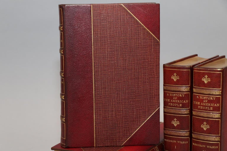 5 volumes. Bound in 3/4 red Morocco with top edges gilt, raised bands, and gilt panels on spine. Also generously illustrated with portraits, maps, floor plans, and other rare prints throughout. Published in New York in 1903 by Harper and Brothers.