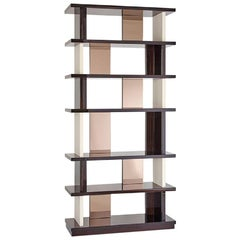 Bookshelf Polished Ebony Finish Back and Side Insert Leather and Bronzed Mirror