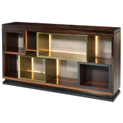Bookshelf Structure Plywood Ebony Veneered Back in Vetrite with Strip Led
