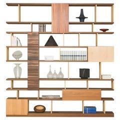 Bookshelf with Wood Patchwork on Doors, by Morelato