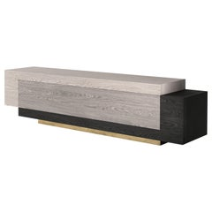 Booleanos Geometric TV Stand with Gray Finishing and Brass Baseboard