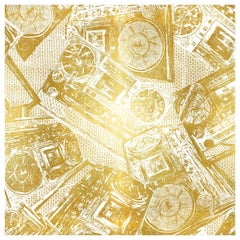 Boom Box, Gold on White Colorway, on Smooth Wallpaper