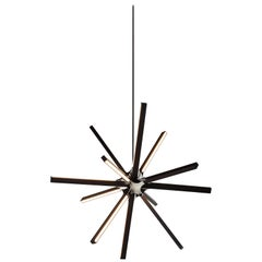 Boom Chandelier Wood Led Light in Ebonized Oak with Polished Nickel by Stickbulb
