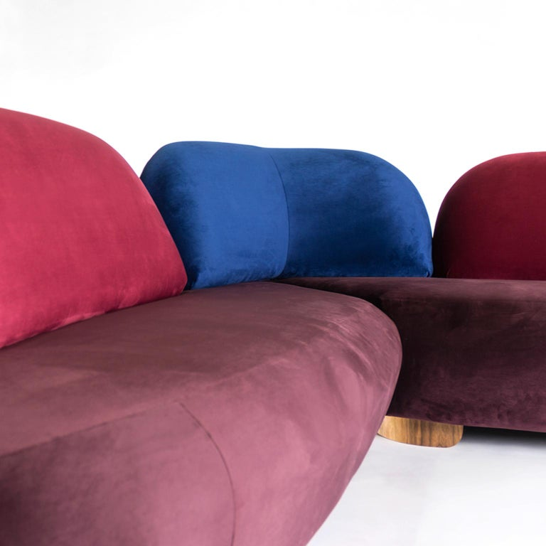 Modern Boom Sofa in Velvet Fabric by Mool For Sale