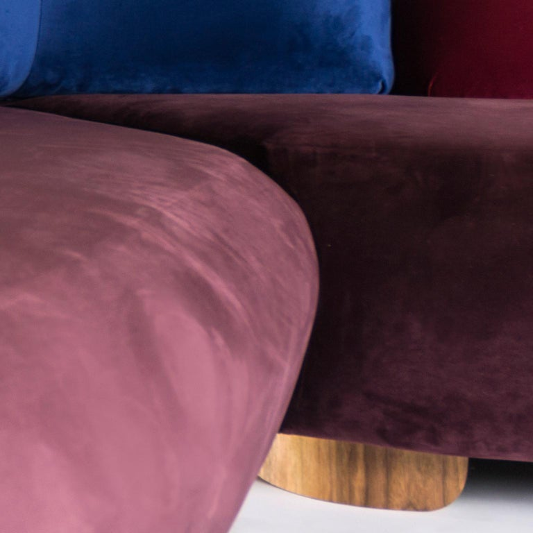Mexican Boom Sofa in Velvet Fabric by Mool For Sale