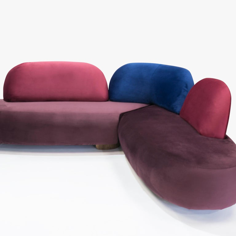 Hand-Crafted Boom Sofa in Velvet Fabric by Mool For Sale