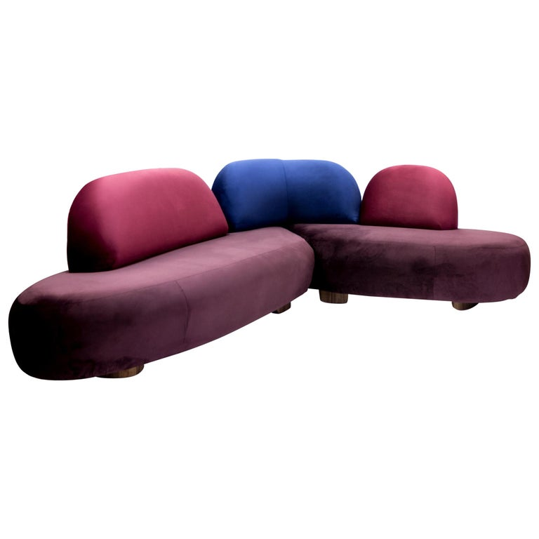 Boom Sofa in Velvet Fabric by Mool For Sale