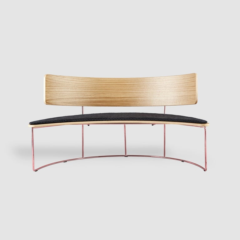 Post-Modern Boomerang Bench, Black by Cardeoli For Sale