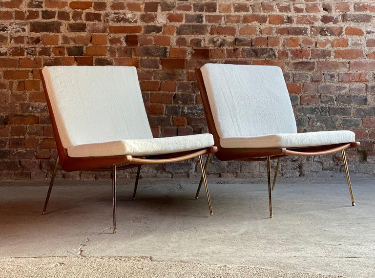 Boomerang Chairs France & Son Pair of Peter Hvidt & Orla Mølgaard Nielsen, 1950s For Sale 3