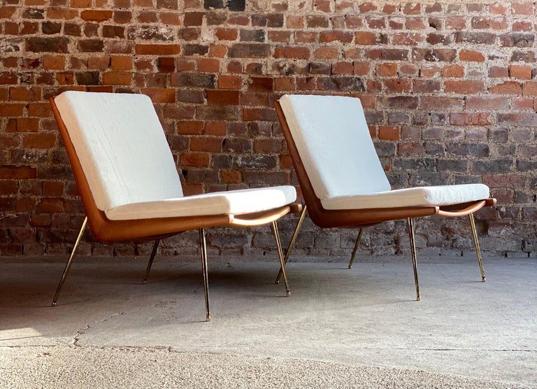 Boomerang chairs France & Son Pair of Peter Hvidt & Orla Mølgaard Nielsen, 1950s