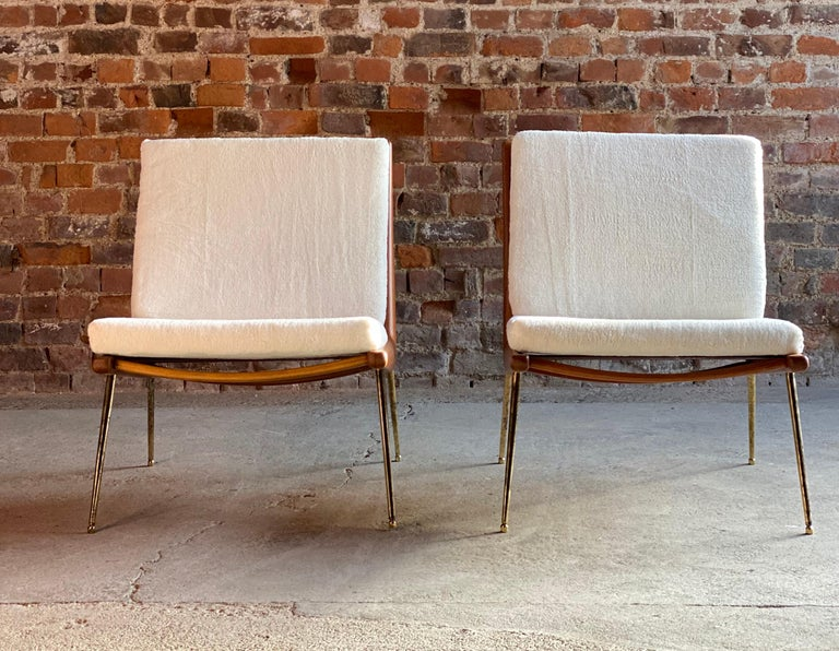 Teak Boomerang Chairs France & Son Pair of Peter Hvidt & Orla Mølgaard Nielsen, 1950s For Sale