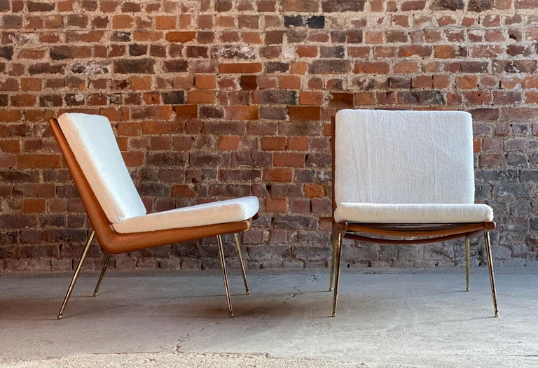 Boomerang Chairs France & Son Pair of Peter Hvidt & Orla Mølgaard Nielsen, 1950s For Sale 1