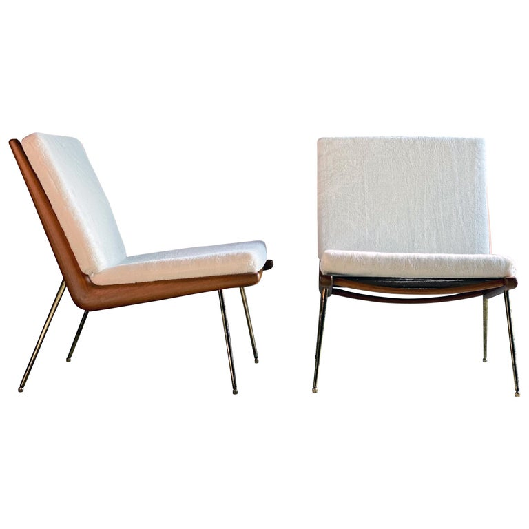 Boomerang Chairs France & Son Pair of Peter Hvidt & Orla Mølgaard Nielsen, 1950s For Sale