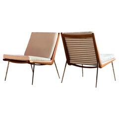 Boomerang Chairs France & Son Pair of Peter Hvidt & Orla Mølgaard Nielsen, 1950s