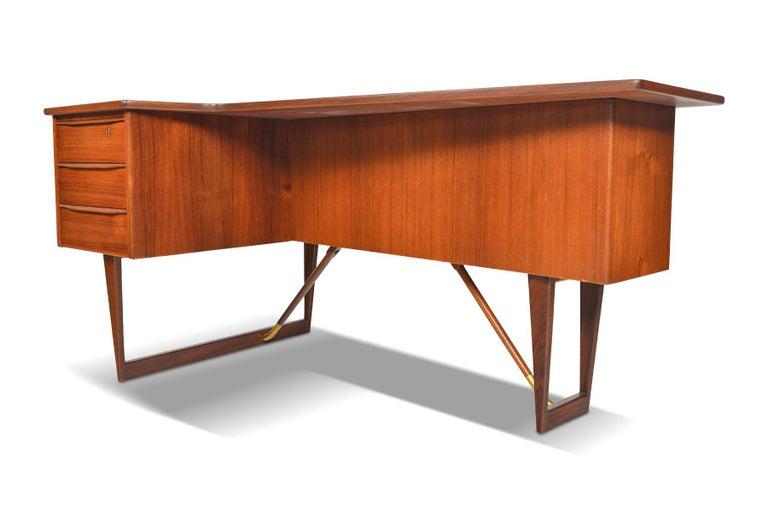 Danish Boomerang Desk in Teak by Peter Lovig Desk For Sale