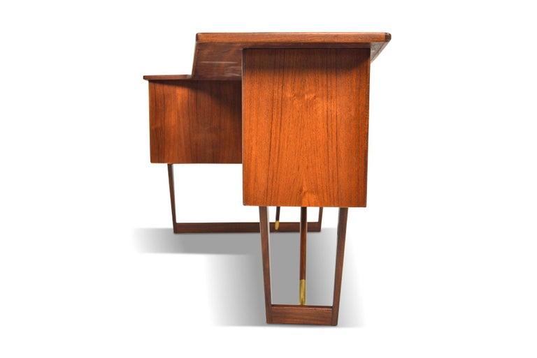 Brass Boomerang Desk in Teak by Peter Lovig Desk For Sale