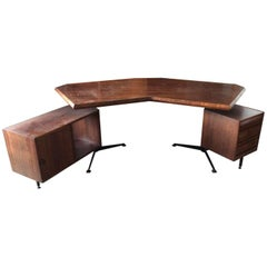 Boomerang Osvaldo Borsani Desk Finished in Rosewood