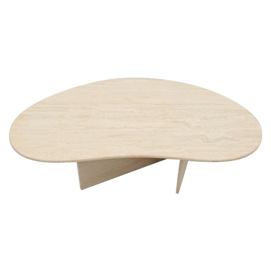 Boomerang Travertine Coffee Table, Italy, 1970s