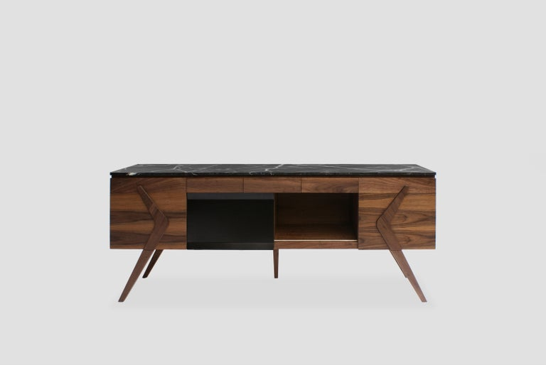 Mexican Boomerang Walnut and Marble Credenza For Sale