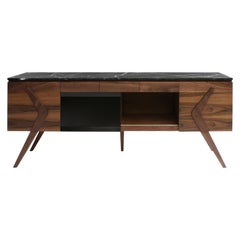 Boomerang Walnut and Marble Credenza