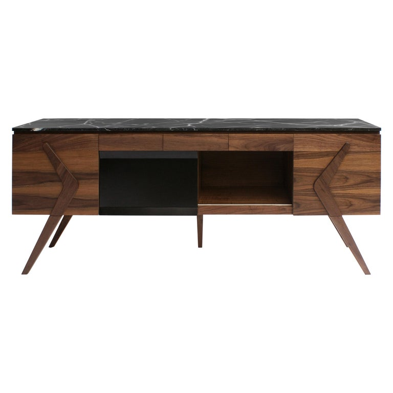 Boomerang Walnut and Marble Credenza For Sale