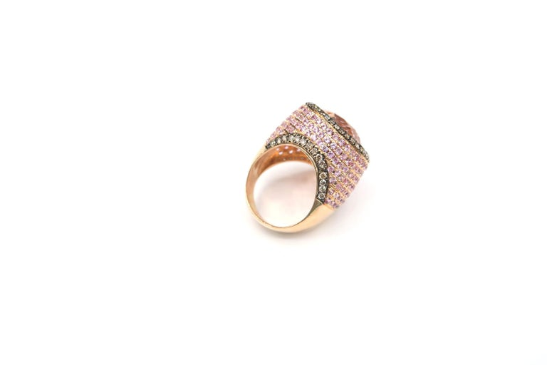 Pear Cut BOON 17.12 Carat Pear Shape Morganite Champagne Diamond Pink Sapphire Gold Ring For Sale