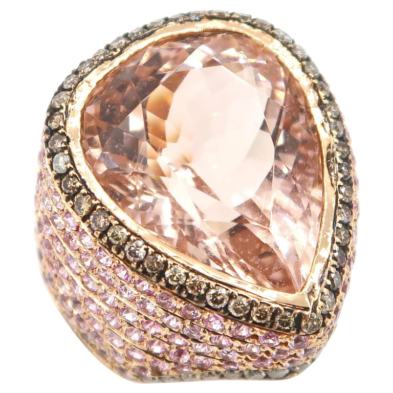 BOON 17.12 Carat Pear Shape Morganite Champagne Diamond Pink Sapphire Gold Ring For Sale