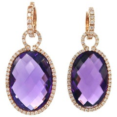 BOON 32.15 Carat Amethyst Medallion Diamond Rose Gold Huggies Earrings