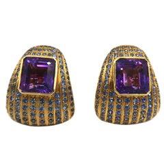 BOON Blue Sapphire 20 Carat Amethyst Yellow Gold Earrings