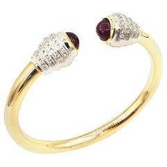 Boon Cabochon Ruby and Diamond Twist 18 Karat Rose Gold Open Bangle