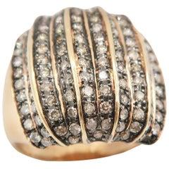 Boon Champagne Brown Diamond Wide Ridge Ring in 18 Karat Pink Rose Gold