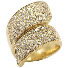 BOON Cross Wide Pavé Diamond Yellow Gold Ring