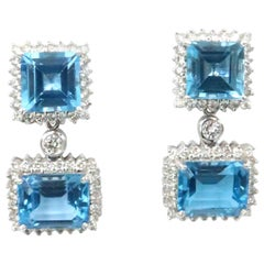 BOON Detachable Swiss Blue Topaz Square Rectangular Diamond Stud Dangle Earrings