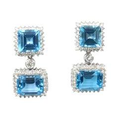 Boon Detachable Swiss Blue Topaz Square Rectangular Diamond Stud Dangle Earrings