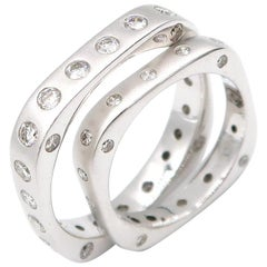 Boon Diamond Dotted Square Shaped Stackable Matte 18 Karat Gold Couple Bands