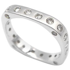 BOON Diamond Dotted Square Shaped Stackable Matte 18 Karat White Gold Band