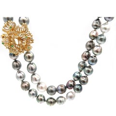 BOON Diamond Emerald Lacework Gold Baroque Tahitian Pearl Double Strand Necklace