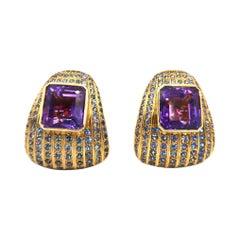 BOON Flamboyant Blue Sapphire 20 Carat Amethyst 18k Yellow Gold Clip-On Earrings