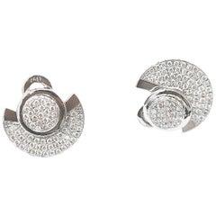 BOON Front Back Disc Diamond Pavé 18 Karat White Gold Earrings