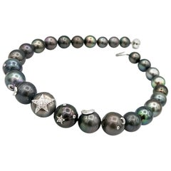 BOON Large Tahitian Pearl Necklace w/ Diamond Star & Moon 18K Gold Embellishment