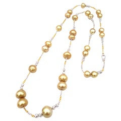 Boon Long Strand Gold South Sea Pearl Necklace
