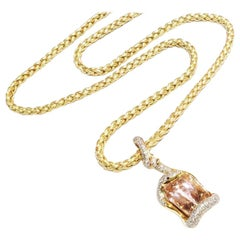 Boon Serpentine 34.92 Carat Oval Kunzite Black and White Diamond Pendant Chain
