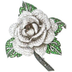 BOON Signature White and Black Diamond Emerald Gold Rose Brooch