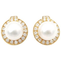 Boon South Sea Pearl Unpierced Omega Clip-On Earrings with Diamond Halo