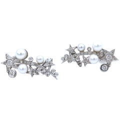Stars Cluster Pearl Diamond 18 Karat White Gold Ear Cuffs Earrings