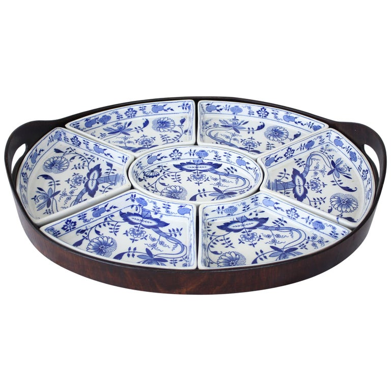 """Booths 7 Piece """"Onion"""" Hors D'Oeuvres Tray For Sale"""