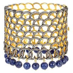 Bora Bora Blue Sapphire Diamond Statement Cuff
