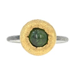 Bora Green Tourmaline Ring, Sterling Silver and 24 Karat Yellow Gold