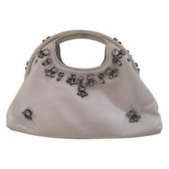 Borbonese white leather swarovski handbag