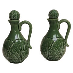 Bordalo Pinhero Vintage Pair of Green Cabbage Leaves Salad Dressing Holders